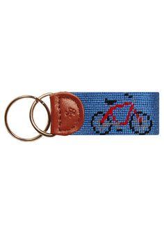 Smathers & Branson Needlepoint bicycle key fob key chain