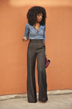 Fitted Denim + High Waist Trousers