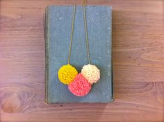 Neon Pom Pom Trio Necklace / Bright colorblock by FableAndLore