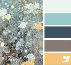 aged hues - Thinking of this color palette for the dining room. Top one color and below chair rail another
