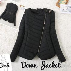 HP!!Black Puffy Jacket w/Zippers Black Short Puffy Jacket w/Slanted Zipper. Jacket has zip lines in the back & zipper on the shoulders. Zippers are a brass color. Jacket stops @ end of waist. Jacket will fit XS/Small. HP for Style Essential  Pale C Jackets & Coats Puffers
