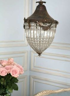 Antique French Chateau Crystal Beaded Lantern