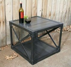 Handmade wood & scrap metal industrial coffee table