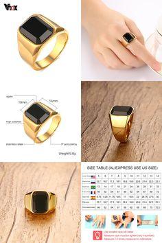[Visit to Buy] Vnox Punk Black Stone Rings for Men Jewelry Gold-Color Men Ring Add Free Gift Box #Advertisement