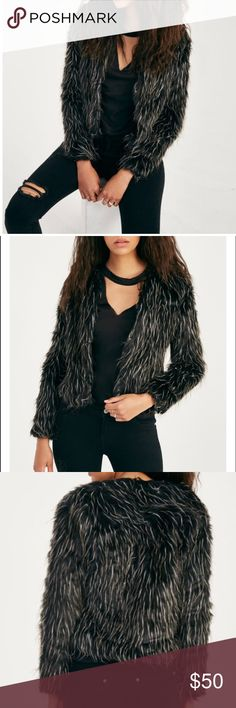 Black & white faux fur jacket Black & white faux fur jacket. Includes 2 side pockets. Available in size Small & medium. Brand new without tags. Missguided Jackets & Coats