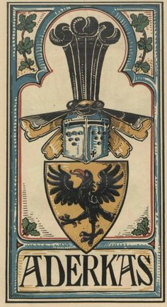 von Aderkas (German) -- Baltischer Wappen-Calendar 1902 (Baltic States Coats of Arms Calendar) published in Riga by E Bruhns with illustrations by M. Kortmann.