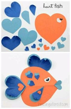Spread the love with these heart-shaped fish crafts! Spread the love with these heart-shaped fish crafts! Valentines Day Activities, Valentine Day Crafts, Craft Activities, Preschool Crafts, Holiday Crafts, Preschool Christmas, Spring Crafts, Fish Crafts, Crafts To Do