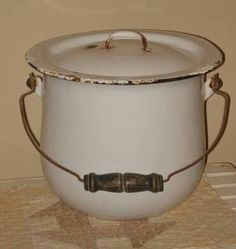 Enameled Tin Chamber pot with lid...there were times when you couldn't visit the outhouse......