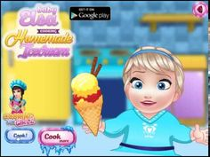 Disney Frozen Games - Baby Elsa Cooking Homemade Ice Cream Video Game For Kids