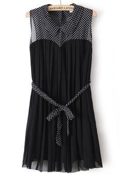 Sleeveless Sheer Polka Dot Black/Navy Chiffon Dress w/Sash @SheInside.com