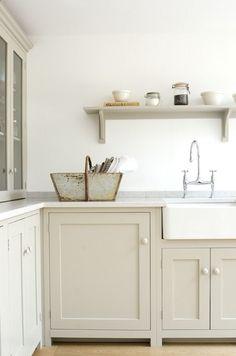 deVOL 'Mushroom' paint on cabinets - Similar paint colors are Benjamin Moore Spring Thaw or Farrow Ball Elephants Breath.