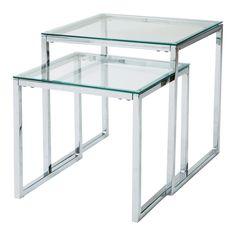Tavoli bassi estraibili in vetro e metallo L 40 cm e L 45 cm | Maisons du Monde
