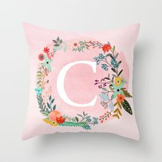 Flower Wreath With Personalized Monogram Initial Letter S On Pink Watercolor Paper Texture Artwork Couch Throw Pillow by - Cover x with pillow insert - Indoor Pillow Watercolor Paper Texture, Pink Watercolor, Letter Cushion, Letter Pillow, Throw Pillow Cases, Throw Pillows, Pillowcase Pattern, Letter Patterns, Monogram Initials