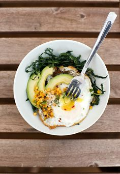 Simple, and mouthwatering. Fried egg, with kale and elotes. #recipe #healthy #breakfast