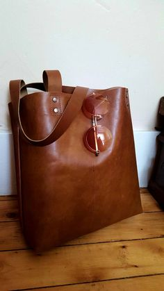 Brown Leather Shoulder Tote Bag by BellBottomBleus on Etsy