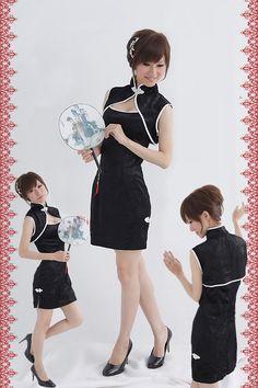 セクシーチャイナドレス/黒トップス&ワンピースセット/ショットタイプ【楽天市場】