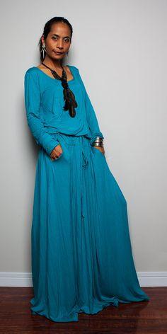 Maxi Dress   Long Sleeve dress  Autumn Thrills by Nuichan on Etsy, $59.00