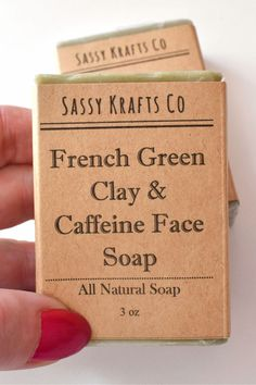 French Green Clay Face Soap All Natural Herbal Soap infused with Caffeine and Jojoba, Tighten Pores and Balance Skin Tone with Essential Oil Soap. Great for sensitive skin! French Green Clay helps to absorb impurities and draw out dirt and toxins. This is removing excess oils without stripping your skin. Clarify, tone and tighten. Clary sage and lemon grass essential oils are sweet and gentle with floral tones with a touch of lemon. #sassykrattsco#soapshare#soapmaker#saps#facesoap#greenclay Clary Sage Essential Oil, Essential Oils Soap, Lemongrass Essential Oil, Turmeric Soap, Acne Soap, Soap For Sensitive Skin, Tighten Pores, Clay Faces, Green Clay