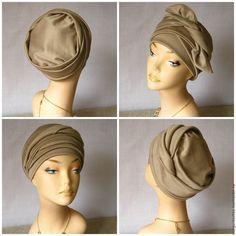 Купить Чалма бежевая трансформер весна - шапка бежевая, чалма купить, большие размеры