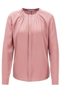 Step out in designer womenswear by HUGO BOSS. From eveningwear to casual dresses or women's designer blouses, discover them in the official online shop! Womens Fashion Online, Designing Women, Blouse Designs, Casual Dresses, Women Wear, Neckline, Silk