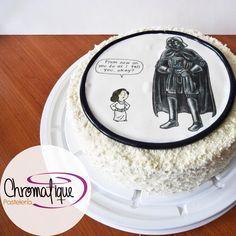 Star Wars cake - Illustration from the Jeffrey Brown's book Vaders Little Princess (Torta de Star Wars con una ilustración del libro de Jeffrey Brown -Vader's Little Princess) https://www.facebook.com/ChromatiquePasteleria