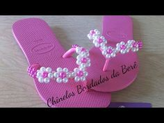 YouTube Beaded Beads, Beaded Shoes, Beaded Sandals, Beaded Ornaments, Bling Flip Flops, Flip Flop Shoes, Crochet Slippers, Beading Tutorials, How To Make Beads