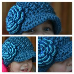 Blue Newsboy hat for Girls or Women, Check it out in my Etsy shop!!  https://www.etsy.com/ca/listing/171507086/crochet-newsboy-hat-for-girls-in-blue?ref=shop_home_feat