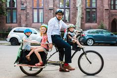 Amazing ways to bike with kids, including a tandem bike, bakfiet and Xtracycle. || A Cup of Jo