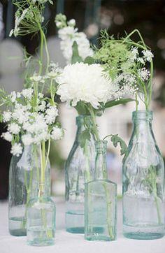 All ForEver After: #138 Centrepieces - Flowers in Vintage Bottles