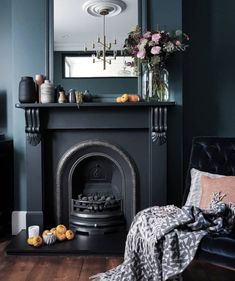 A moody home tour and 8 habits for a healthy home — The Decorista Living Room With Fireplace, Fireplace Surrounds, Dose, Interior Design Services, Living Area, Living Rooms, House Tours, Home Office, Home And Family