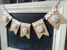 Mini Rosette Burlap Banner, Tulle Rosette burlap bunting, Mini Banner, Wreath Add on, FREE SHIPPING