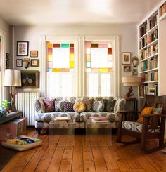 Comfortable but spacious living room Source: Design*Sponge Touring Musicians Build A Beautiful Home Base In Kingston