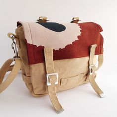 Bike Bag Marimekko - Poppy Unikko - Khaki - Cream Beige Brown on Etsy, ฿2,347.42