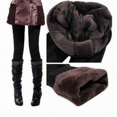 ca6cdcdb0db Autumn Winter Woman Thick Warm Fleece Fur lined Tight Pencil Pants