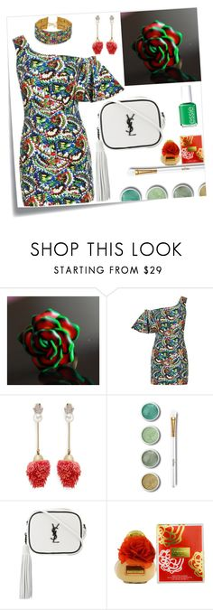 """""""Colorful"""" by julia-buduart ❤ liked on Polyvore featuring Post-It, Saloni, Venna, Terre Mère, Yves Saint Laurent, Coach, Vanessa Mooney and Essie"""