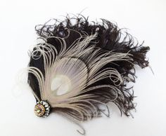 Ivory White Peacock Feather Fascinator, Hair Accessory, Black, Bridesmaid, Weddings, Hair Clip, 1920s Flapper, Victorian, Batcakes Couture. $42.99, via Etsy.
