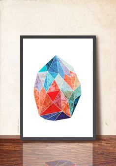 GEOMETRIC Art Abstract Gem Jewel Wall Art Print. Gemstone print. Imaginary Precious Stone Red Blue by TANGRAMartworks (7.50 GBP) by TANGRAMartworks