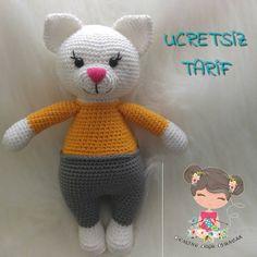 with ・・・ nde kedicik tarifi sizinle insallah severek orersiniz. Crochet Bear, Cute Crochet, Crochet Toys, Easy Crochet Shrug, Doll Patterns, Crochet Patterns, Amigurumi Doll, Diy Toys, Toys For Boys