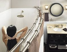 Moen DN2141BN 60-Inch Adjustable Stainless Steel Double Curved Shower Rod, Brushed Nickel | CountryCurtains Double Shower Curtain, Shower Curtain Rods, Shower Rod, Shower Curtains, Shower Sizes, Painting Shower, Metal Curtain, Curve Design, Brushed Nickel
