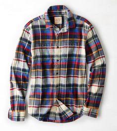 64b94f119955 Cobalt Blue AEO Heritage Flannel Shirt Mens Flannel Shirt