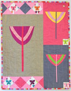 Mod Blossom Mini Quilt Finished by ericajackman, via Flickr