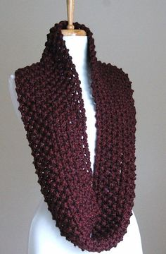 Claret Burgundy Knit Scarf Chunky Scarf Hand Knit by PhylPhil