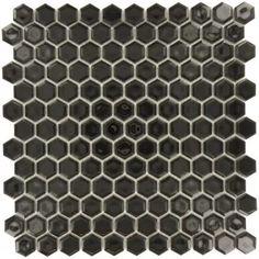 Jet Black Hexagon Porcelain Glossy Tile