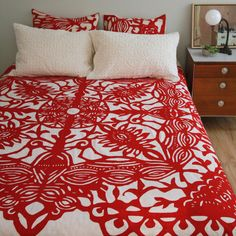 Twin Bed Cover in Applique Butterfly Red. $98.00, via Etsy.