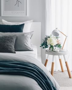 Cozy bedroom with neutral color palette. Gray and blue bedroom decor. Modern bedroom by Tarina Lyell ( Blue Gray Bedroom, Blue Master Bedroom, Grey Bedroom Design, Grey Bedroom With Pop Of Color, Cozy Bedroom, Home Decor Bedroom, Bedroom Ideas, Master Bedrooms, Modern Bedroom