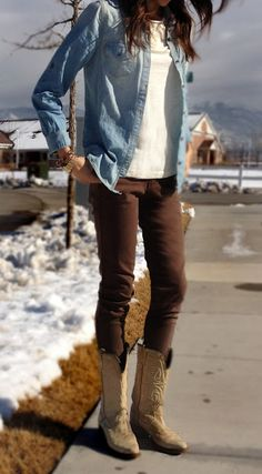 need red boots, and a jean button up like this one!