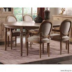 PR Interiors Louis verlengbare eettafel met weathered oak-eik Top-blad en Old Dirty White legs-benen in eik 120 tot 200 cm