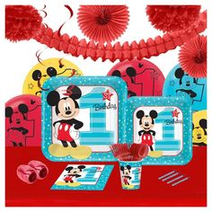 16ct Disney Mickey Mouse 1st Birthday Party Pk with Decoration Kit, Blue