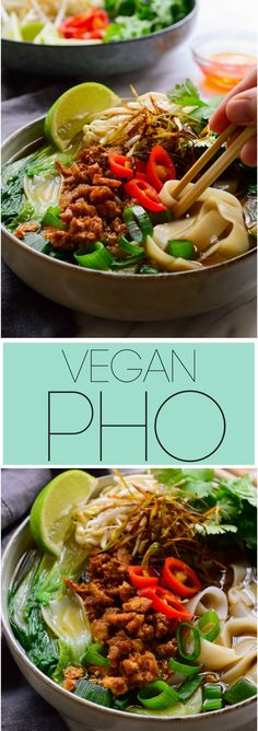 This #vegan pho recipe will appease all your cravings for a delicious, intensely flavoured #vegetarian pho. Thick slurpy rice noodles in a deliciously spiced umami broth and topped with smoky crumbled #tofu , sweet frizzled onion, fresh herbs and sprouts. A bowl of #soup so good you won't believe that this vegan pho is made 100% from scratch in less than one hour!