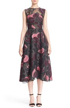 Free shipping and returns on Lela Rose Leaf Fil Coupé Midi Dress at Nordstrom.com. Richly textured fil coupé leaves fall across an exquisite organza dress backed by a slip lining that leaves the yoke beautifully sheer. Deft seamwork nips in the natural waist before releasing the full A-line skirt, creating an ultrafeminine silhouette.
